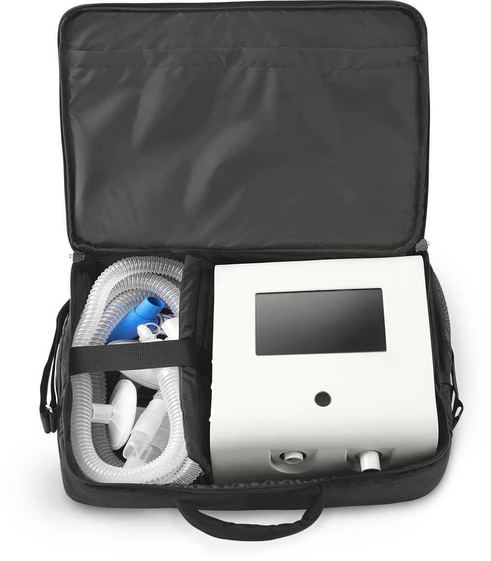 Alpha ventilator in carrying bag